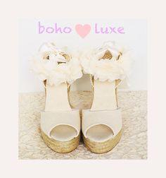 3ee1ca083e7 BOHOLUXE Peep Toe IVORY Platform Wedge Lace Up Espadrille Boho style  Wedding Ibizencas bridal shoes Wedding