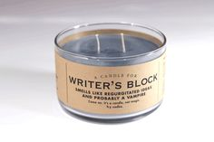 A Candle for Writer's Block - BEST SELLER! 17 oz Candle by Whiskey River Soap Co. >>> Click image for more details. (This is an affiliate link) Writing A Book, Writing Tips, Writing Prompts, Story Prompts, Whiskey River Soap, Candle Jars, Candles, Candle Craft, I Am A Writer