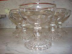 Vintage Set of Anchor Hocking Bubble Foot Crystal Sherbet Glasses