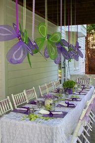 mint green and orange baby shower | Green and Purple Fairy theme More