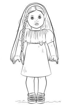 American girl doll coloring page kids