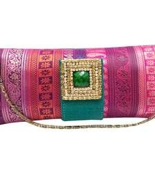 "Buy Multi Brocade Clutch with Reverse ""Ulta"" Flap (Green) clutch online"