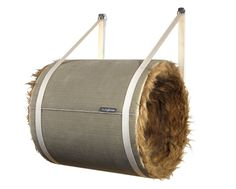 DIY THESE Designer wall barrel for cats... instead of $$$, Think =$7.25= QUIKRETE QUIK-TUBE 10-inch Building Form/Tube (Item #: 179135 | Model #: 692202) :: :: Just carpet/felt it/faux fur'it. Any kind of straps; cloth, leather :: :: Thinking of upholstering the Inside for a vertical climb, perhaps starting-out and/or going-to horizontal tubes... Heck you could get all crazy wind up with a Cat'stle:p (term coined here, probably independently rampantly everywhere else:)