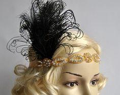 Gold Gatsby Headband 1920s Flapper от BlueSkyHorizons на Etsy