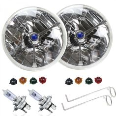 """Pair Tri-Bar 7in Inch Halogen Lens Assembly w/ H4 bulbs - BRIGHT CHOICE! These Tri-Bar Headlight Conversion replaces the popular 7"""" sealed beam round headlights used in many cars and trucks. These lens use a long life replaceable H4 bulb to give you the best visibility possible. Features exclusive Omni-View technology to ensure maximum light output. Easy installation even for the """"weekend"""" mechanic.The Tri-Bar Headlight is constructed of a lightweight plastic case with a glass lens. Includes…"""