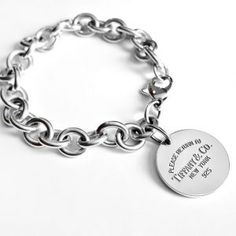 5c4344d87 $218 TIFFANY & CO. PLEASE RETURN TO CO ROUND TAG STERLING SILVER 7″ BRACELET.  SmartShop Jewelry