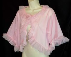 VINTAGE PINK CHIFFON BED JACKET with RUFFLES