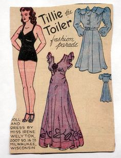 Vintage TILLIE THE TOILER paper dolls 1930s Purple Long Gown with Beaded Trim | Dolls & Bears, Paper Dolls, Vintage | eBay!