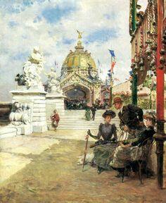 """A l'Exposition Universelle"" 1900 by Ludovico Marchetti (1853-1909)"