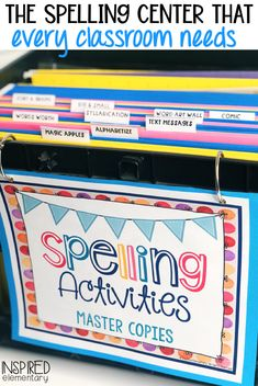 Spelling centers are such a fun way to incorporate spelling activities that reinforce the weekly vocabulary and spelling words that students are learning! I must admit, spelling was not always a hi… Spelling Word Activities, Spelling Centers, Spelling Words List, Word Work Activities, First Grade Activities, Vocabulary Activities, Learning Activities, Vocabulary Practice, First Grade Classroom