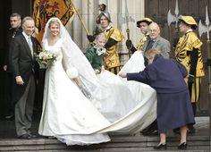 Archduke Carl Christian of Austria, bride Archduchess Marie-Christine of Austria and Gabriella arrive at Saint Rombouts Cathedral
