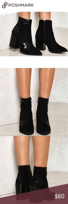 Nasty Gal Dark Star Bootie Amazing black heeled booties with block heel and star print design! Zip closure at the side and a pointed toe. Pair this with black skinnies and a white tee and you're golden! Worn once around my office (which has carpet) so they are almost brand new! Nasty Gal Shoes Ankle Boots & Booties