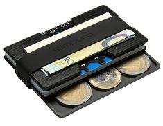 Premium Kreditkartenetui aus Aluminium mit Münzfach und Geldklammer - RFID / NFC Schutz - Slim Wallet - Filzschutz gegen Kartenabrieb - Geldbörse / Portmonee für Minimalisten EUR 25,90 Aluminium, Money Clip, Wallet, Felting, Totes, Black, Pocket Wallet, Purses, Money Clips