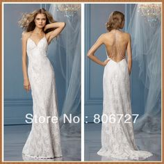 Sleeveless Spaghetti Strap Halter Backless Lace Halter Sexy Beach Wedding Dresses US $180.00