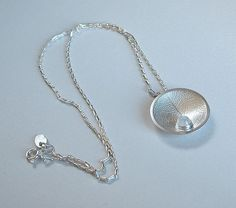 Silver dewdrop leaf domed necklace by catherine woodall on Etsy, $84.00