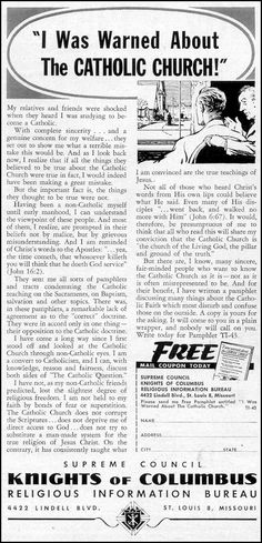 The Knights of Columbus Ad in Time Magazine  02/23/1962