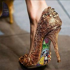 Custom hand painted Beauty and the Beast Stained Glass heels - shoes - Schuhe Damen Cute Shoes, Me Too Shoes, Pretty Shoes, Glass Heels, Disney Shoes, Cinderella Shoes, Disney Purse, Disney Vans, Cinderella Disney