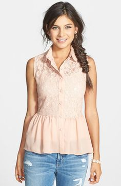 PPLA Button Peplum Tank (Juniors) available at #Nordstrom
