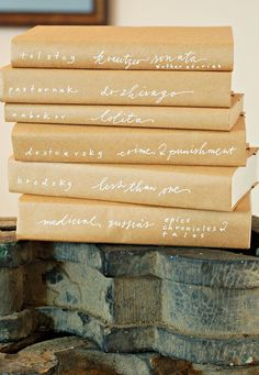 Wrap your old textbooks in brown paper.