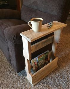 Wood Pallet Projects Rustic Wood Pallet Furniture Magazine Rack End Table Dorm Furniture TV Stand - Dorm Furniture, Wood Pallet Furniture, Furniture Ideas, Outdoor Furniture, Garden Furniture, Skid Furniture, Furniture Shopping, Recycled Furniture, Furniture Stores