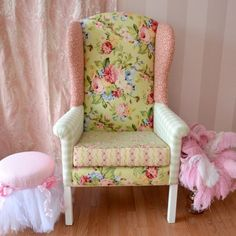 Large Patchwork Armchair in Sage and Pink Floral $850.00 #thebellacottage #shabbychic #SALE
