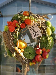 Herfstkrans Door Wreaths, Grapevine Wreath, Cemetery Decorations, Fall Flower Arrangements, Crochet Fall, Fall Decor, Holiday Decor, Deco Floral, Fall Flowers