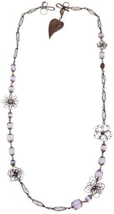 KONPLOTT Halskette (lang) Verlorene Unschuld am Gartenzaun pink