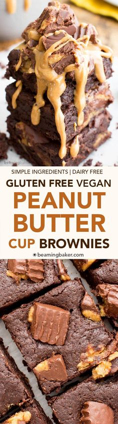 Gluten Free Vegan Peanut Butter Cup Brownies (V+GF): rich, fudgy, decadent brownies stuffed with delicious peanut butter cups. #Vegan #GlutenFree #DairyFree | http://BeamingBaker.com