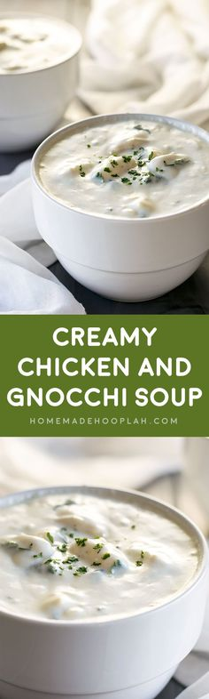 Creamy Chicken and Gnocchi Soup! Chicken and gnocchi soup with an ultra creamy and delicious sauce and onions, celery, carrots, spinach, and herbs. | HomemadeHooplah.com