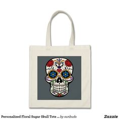 Shop Personalized Floral Sugar Skull Tote Bag created by sunbuds. Unique Gifts, Great Gifts, Mexican Men, Best Tote Bags, Sri Yantra, Sugar Skull, Reusable Tote Bags, Floral, Accessories