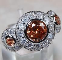 Gorgeous Art Deco Triple 5+ ctw Champagne & White Topaz Halo Ring~Solid 925 SS~Sz.6! Heirloom Ring!