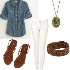 Grandpa-inspired outfit: Chambray   button-down, white jeans, easy sandals, wrap bracelet, pendant   necklace
