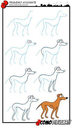 Como dibujar al perro de los Simpsons. Pequeño ayudante http://www.comodibujar.es/aprender-dibujar/personajes-series/dibujar-a-los-simpsons/como-dibujar-perro-de-los-simpson/