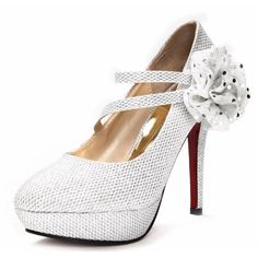 Silver Platform Bridal Wedding Evening Masquerade Ball High Heels Shoes SKU-1090323