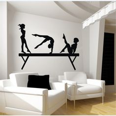 Gymnastics Balance Beam 3 Sport Girls Room Wall Decal Art Wall Sticker Decor DIY #Budgettank #Modern