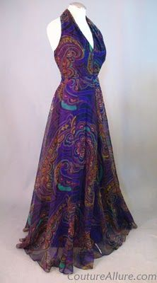 Couture Allure Vintage Fashion: New at Couture Allure - Vintage Evening Gowns and Coats - 1970's Bohemian Chic chiffon halter evening gown