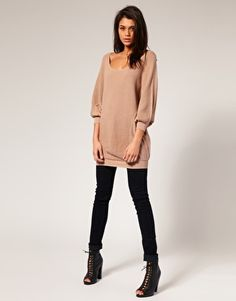 Oh thats a fun outfit idea. Oversized/slouchy sweater, leggings or skinny jeans, and fun boots or flats.
