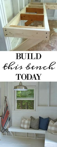 One Room Challenge Bench Building - At Home With The Barkers - Easy DIY Pine Bench Tutorial as part of an awesome Shed Makeover! Furniture, Home Improvement Projects, Diy Home Decor, Home, Home Diy, Shed Makeover, Built In Bench, Shed Homes, Wood Diy