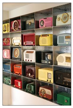 These shadow boxes are a great way to display collections. This concept was introduced in a Fine Art fashion by Arman.
