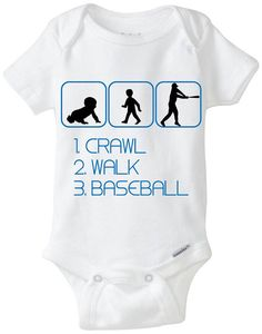 Baseball Baby Boy Onesie - Crawl Walk Baseball - Perfect Babyshower Gift for the new baby boy! You choose any font color, available in sizes Preemie - 24 Months! Available Here: www.etsy.com/shop/LittleFroggySurfShop