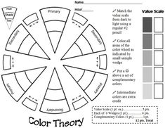 Color Theory Worksheet.  I would want to add two more grey scale values for students to complete using cross hatching technique.  Need to change point values as well.