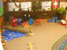 Our Preschool Class Hunting Theme Dramatic Play area!!!  Camping :)