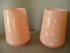 Vintage 1950s MCM Eames Era Pair of Atomic Star Pink Glass Lamp Shades