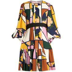 Roksanda Musset floral-print silk-chiffon dress ($1,857) ❤ liked on Polyvore featuring dresses, платья, multi, flower design dresses, abstract print dress, abstract dress, flower print dress and floral pattern dress