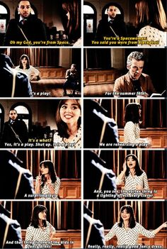 Doctor Who: The Caretaker: Series 8 Episode 6: broadcast on BBC One on September 27, 2014: written by Gareth Roberts and Steven Moffat: directed by Paul Murphy | Danny Pink (Samuel Anderson), The Doctor (Peter Capaldi) and Clara Oswald (Jenna Coleman)