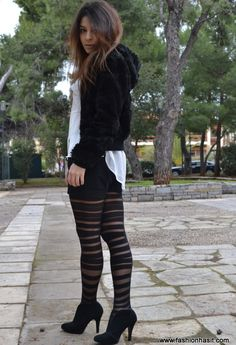 Almost ripped tights.. #outfit  , H&M in Jackets, Armani Exchange in Ankle Boots / Booties, Zara in Shorts