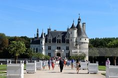 Landscape of Chenonceau castle with tourist. Loir et cher, France.