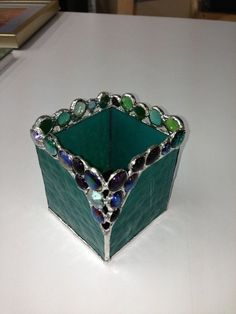 Teal Green 4x4 stained glass candle holder by rosanne