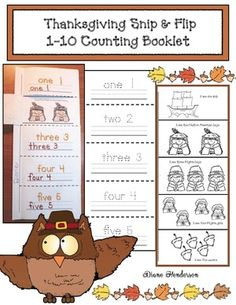 """Numbers & counting: Thanksgiving emergent reader """"snip & flip"""" 1-10 counting booklet. Students read, trace, write, add end punctuation, color, & trim, then collate into a """"just the write size"""" booklet."""
