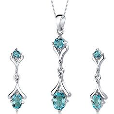 Swiss Blue Topaz Pendant Earrings Necklace Sterling Silver Rhodium Nickel Finish Oval Shape 275 Carats * Learn more by visiting the image link.